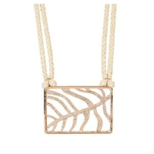 Rose Gold Hemp Cord Square Leaf Pendant Necklace